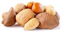 Разновидности орехов  и фундук . Various type of