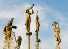 Construction of water fountains with sculptures